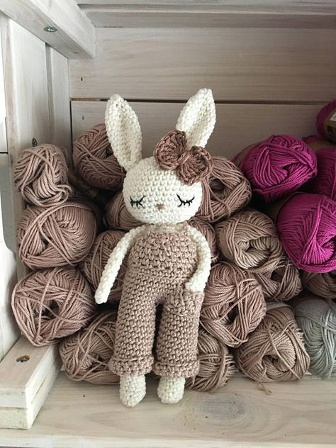 Lovely amigurumi crochet bunny boy with salopette trousers - hand crochet soft cuddly toy - perfect soft cuddly toy for your child. Colors: the main color of the bunny is natural-white, the color of the salopette» on pictures are tan and turquoise, but you can choose your personal