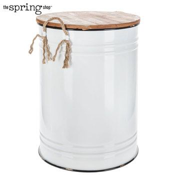 White Metal Container With Lid Jute Handles Dog Food Container