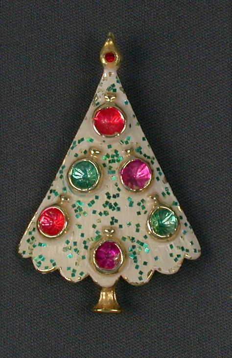 b6ee991567f Vintage B.J. Beatrix Christmas Tree Brooch Pin FOR SALE • $38.00 • See  Photos! Goldtone setting with white enamel & turquoise glitter.