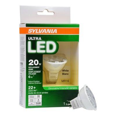 Sylvania Ultra Led Flood Light Bulb 6 Watt 3000 Kelvins Mr16 G5 3 Base Bright White Dimmable Indoor Outdoor Led Light Bulb Led Flood Lights Led Spot