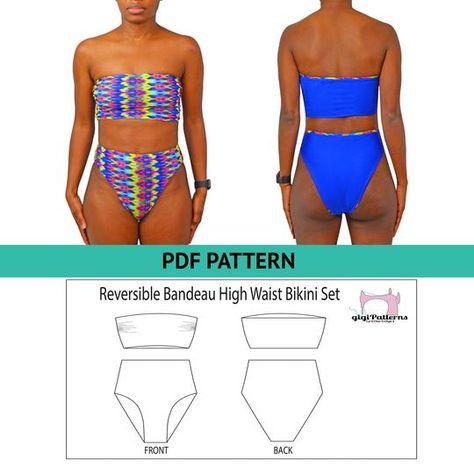 Bandeau Bikini Top, Swimsuit Pattern, High Cut High Waisted Bikini Set, PDF Sewing Patterns For Women