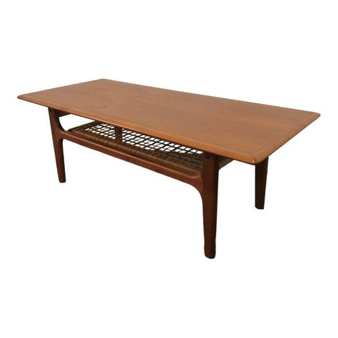 1960s Mid Century Modern Danish Trioh Teak Coffee Table With Cane
