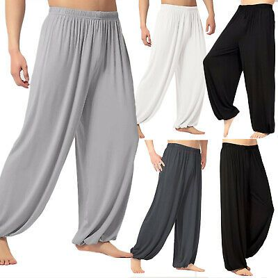 Womens Loose Baggy Yoga Long Pants Casual Wide Leg Harem Trousers Flowy Beach Pants Plus Size Palazzo Pants