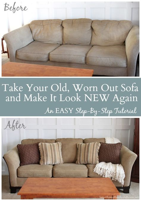 """Take That Old, Worn Out Sofa (""""Saggy Sofa Syndrome"""") & Make It Look New Again  - Polyester Fiberfill and quilt batting in back cushions, Poly-Fil Quilt Batting (Wal Mart) in seat cushions"""