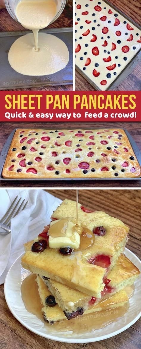Sheet Pan Pancakes - Looking for quick and easy breakfast ideas for a crowd? These sheet pan pancakes are simple, hassle - Sheet Pan Pancakes - Looking for quick and easy breakfast ideas for a crowd? These sheet pan pancakes are simple, hassle - # Breakfast And Brunch, Quick And Easy Breakfast, Breakfast Dishes, Breakfast For Kids, Breakfast Pancakes, Great Breakfast Ideas, Easy Breakfast Food, Tasty Breakfast Recipes, Pancakes Easy