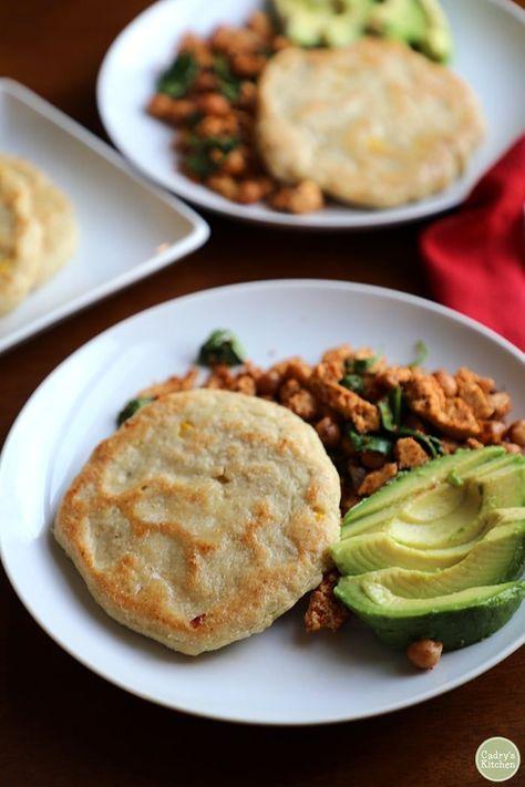 Vegan corn cakes: Gluten free breakfast made with masa flour. Great with a tofu scramble! #vegan #glutenfree #vegan #masa #corn #soyfree #dairyfree