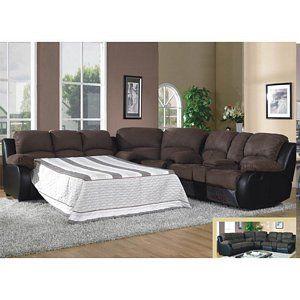 1489 Modern Brown Microfiber Sleeper Reclining Sofa Sectional