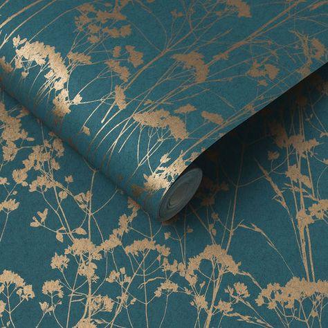 Wallpaper Accent Wall - Grace Teal Wallpaper, , large - Wildas Wallpaper World