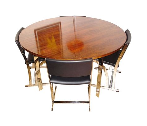 Vintage Merrow Associates Rosewood Chrome Dining Table With 4