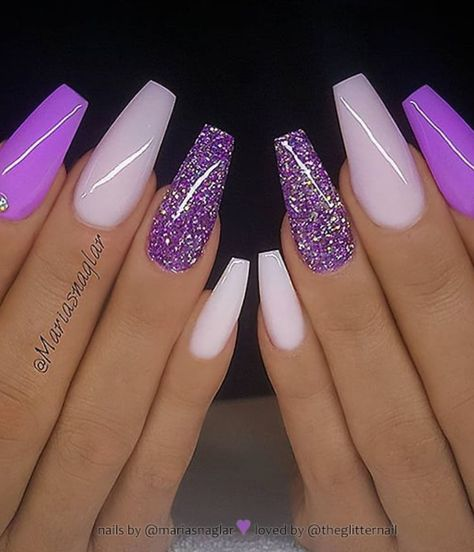 54 Stunning Acrylic Gel Coffin Nails Design For Summer Nails To Look Elegant! - Page 46 of 54 - Latest Fashion Trends For Woman - 54 Stunning Acrylic Gel Coffin Nails Design For Summer Nails To Look Elegant! – Page 46 of 54 – - Purple Acrylic Nails, Summer Acrylic Nails, Best Acrylic Nails, Yellow Nails, Acrylic Gel, Bright Nails, Purple Glitter Nails, Bright Summer Gel Nails, Purple Stiletto Nails