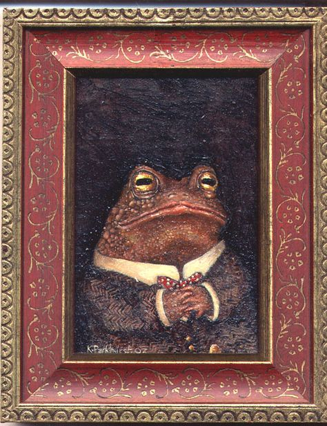 Oil painting of Mr Toad. on gessoed muslin on board. Fuchs Illustration, Wall Collage, Wall Art, Frog Art, Cute Frogs, Dibujos Cute, Frog And Toad, Oui Oui, Aesthetic Art
