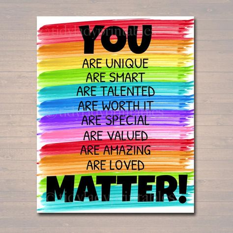 YOU MATTER Classroom Printable, Counseling Office Poster, Counselor Office Decor Therapist Office, Social Worker Sign, Self Esteem Printable