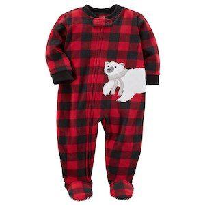 Carter/'s Boy/'s Buffalo Check Zip-Up Fleece Sleep Or Play PJ/'s with Bear