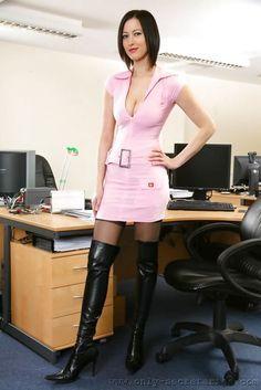 Pink Knit Minidress And Otk Boots