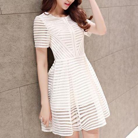 Stylish white round neck short dress, party dress