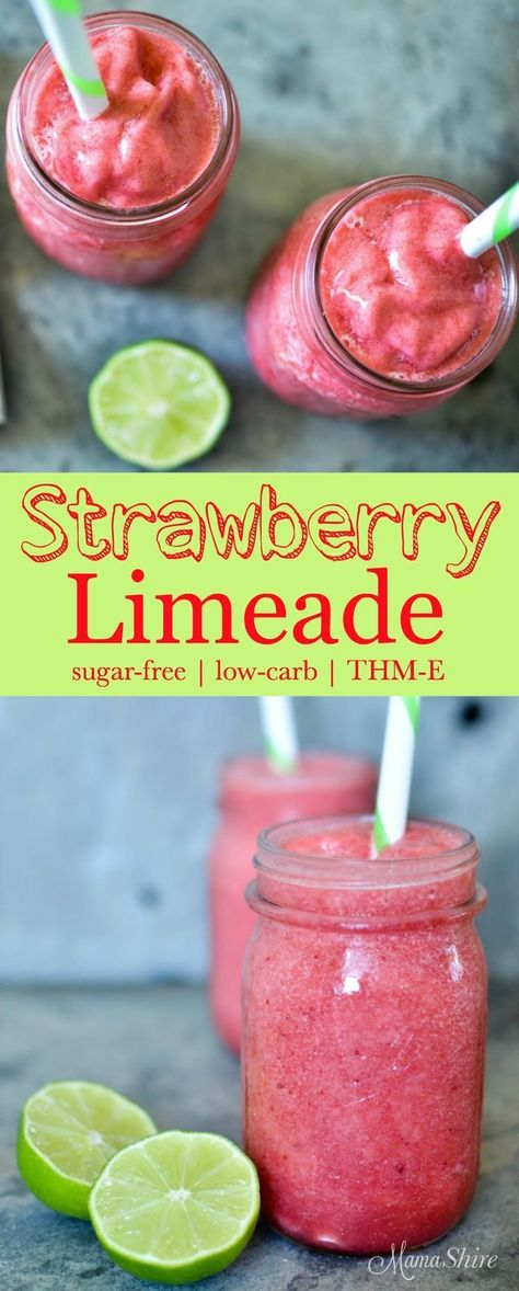 Sugar free - Low carb - THM-E. Full of strawberries and the juice of real lime this Strawberry Limeade is a delicious and healthy treat. Sugar-free, low-carb, THM-E Low Carb Drinks, Low Carb Smoothies, Smoothie Drinks, Fruit Smoothies, Limeade Drinks, Simple Smoothies, Vegetable Smoothies, Smoothie Packs, Smoothie Diet