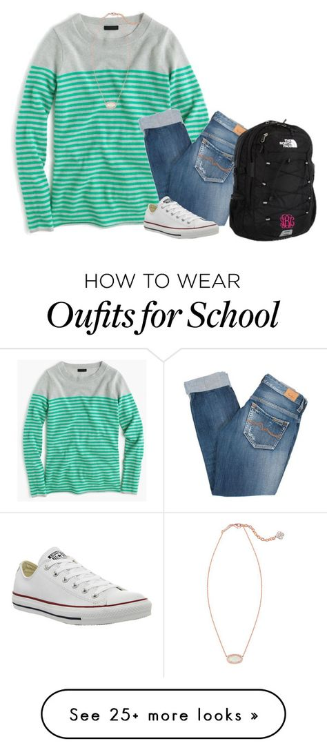 """""""school outfit for tomorrow"""" by sassy-and-southern on Polyvore featuring J.Crew, Pepe Jeans London, Converse, The North Face, Kendra Scott and sassysouthernwinter"""