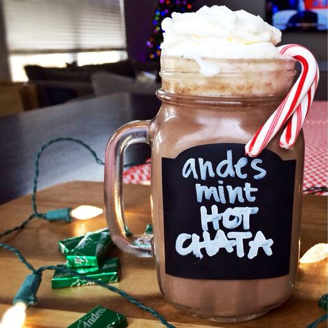 andes mint hotChata. BEST DRINK EVER. made in a CROCK POT with rumchata and andes mints. YES!