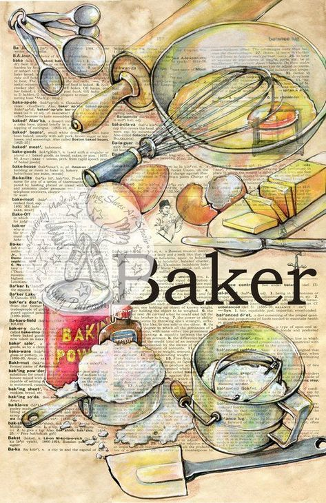 Print of Original, Mixed Media Drawing on Distressed, Dictionary Page This print is available in your choice of two sizes 6 x 9 for $35 12 x 18 for $75 This drawing of my original depictions of Baking Ingredients and Utensils is drawn in sepia ink and created with pastel and colored