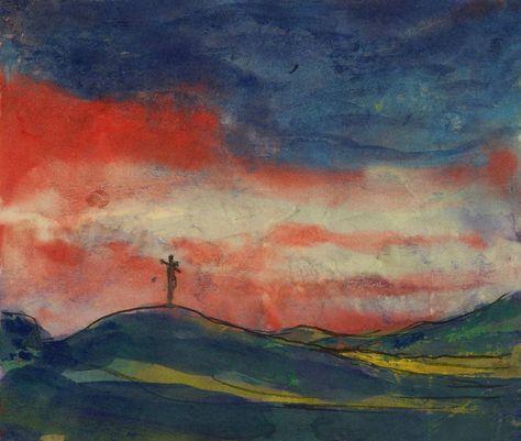 Landschaftsmalerei expressionismus nolde  Landschaft Mit Kirche (Gelb Und Violett) - Emil Nolde   Kreativt ...