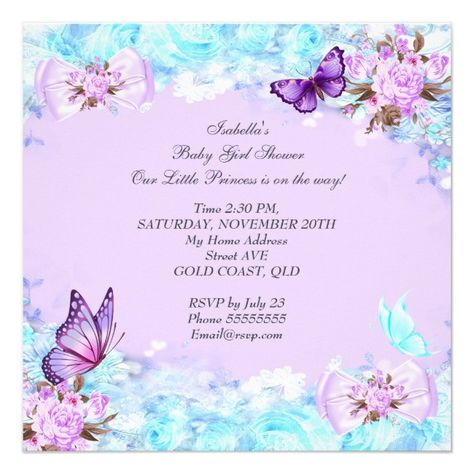 Girl Baby Shower Teal Purple Butterfly Brunette Invitation Purple#Teal#Brunette#Butterfly