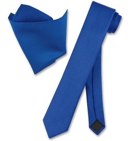 "New Vesuvio Napoli Men/'s 2.5/"" skinny Neck Tie /& Hankie set Stripes royal blue"
