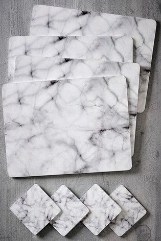 Set Of 4 Marble Placemats And Coasters Natural Interior Design Placemats Table Cloth