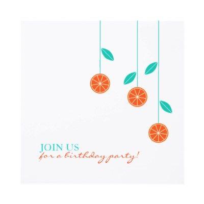Simple Oranges Modern Birthday Invitation Template with both side - fresh invitation birthday simple