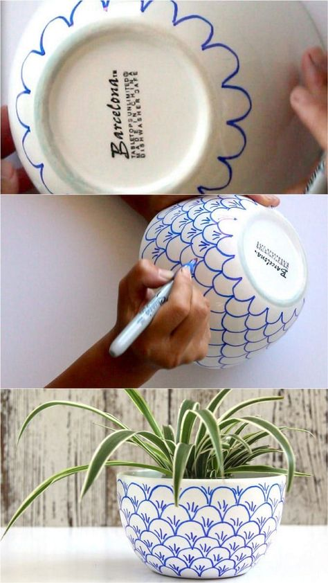 No bake Sharpie art bowls: a better finishing secret for DIY beautiful Anthropologie style designs on ceramic bowls or mugs. - A Piece of Rainbow crafts, DIY No Bake Sharpie Art Bowls Sharpie Crafts, Sharpie Pens, Sharpies, Diy Sharpie Mug, Upcycled Crafts, Diy Home Crafts, Arts And Crafts, Home Craft Ideas, Etsy Crafts