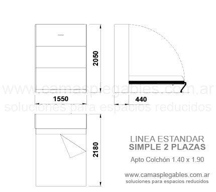 Mueble Cama 2 Plazas Rebatible Simple Apto Para Colchón 1 40 X 1 90 Medidas De Colchones Camas Medidas De Cama