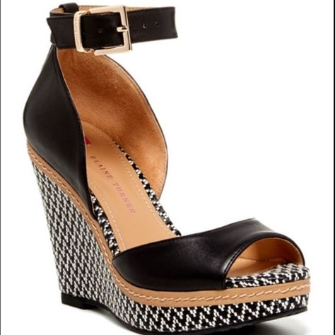 Elaine Turner Shoes | Like New: Elaine Turner Kayla Wedge | Color: Black/White | Size: 7.5