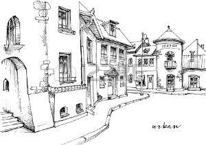 Resultado De Imagen Para Dibujos Blanco Y Negro Paisajes Toscana