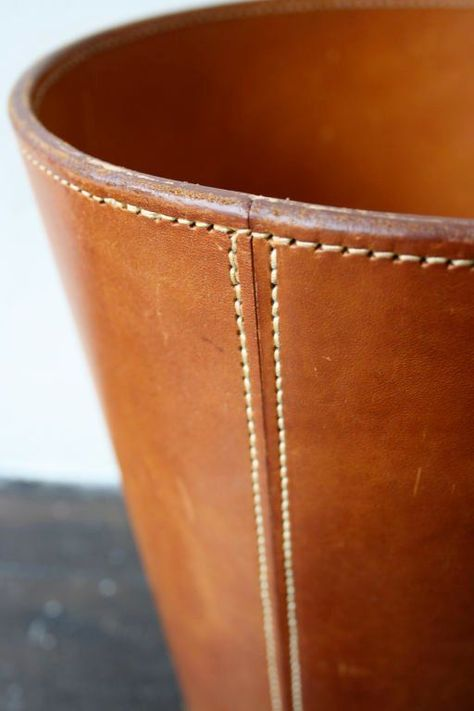 20th Century Cognac Leather Carl Aubock Wastepaper Basket For Sale