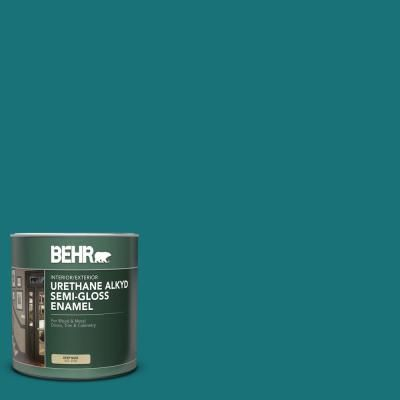 Behr 1 Qt T15 03 Essential Teal Semi Gloss Enamel Urethane Alkyd Interior Exterior Paint 393004 The Home Depot Behr Marquee Behr Marquee Paint Exterior Paint