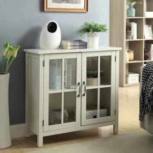 Usl Olivia White Accent Cabinet And 2 Glass Doors Sk19087c2 Pw