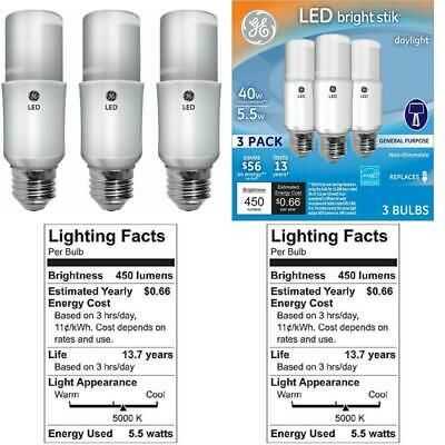 Details About Ge Lighting 63553 Led Brightstik 5 5 Watt 40 Watt 450 Lumen Light Bulb With In 2020 Lighting And Ceiling Fans Light Bulb Bulb