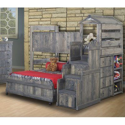 Harriet Bee Lille Twin Over Full L-Shaped Bunk Beds with Stairway Chest