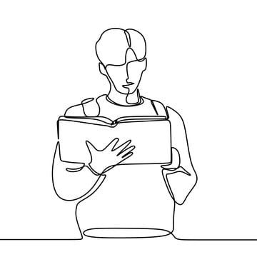 Continuous Line Drawing Of Man Read Book Book Clipart Illustration Drawing Png And Vector With Transparent Background For Free Download Continuous Line Drawing Line Drawing Guy Drawing