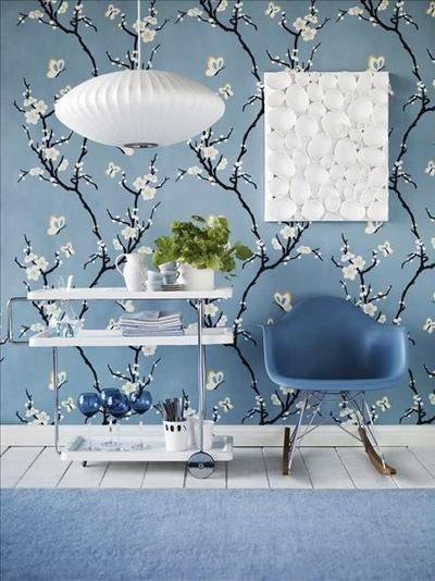 Behang Slaapkamer Blauw.Prachtig Blauw Behang Met Witte Bloesem Ideeen Voor Het