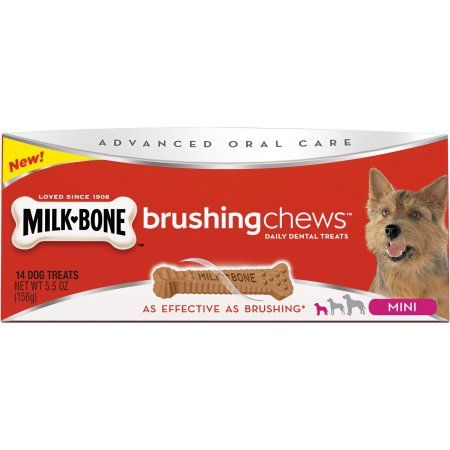 MilkBone Brushing Chews Mini Daily Dental Dog Treats Ct Box - Every day this dog goes shopping all by himself to get treats