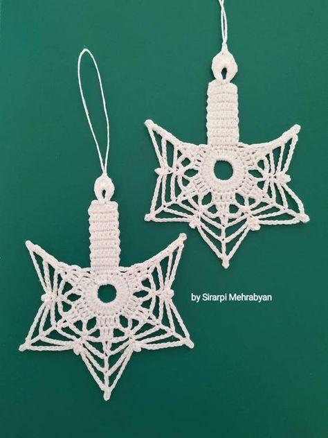 Christmas Crochet candle Pattern PDF Christmas ornament Religious gift Crochet lace ornament home de