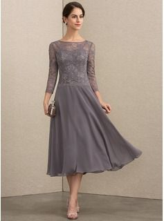 A Line Scoop Neck Tea Length Chiffon Lace Mother Of The Bride
