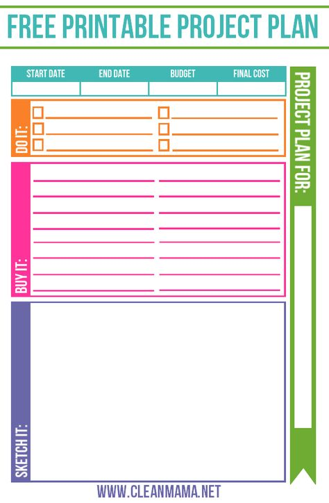FREE Project Planner Clean mama, Free printable and Project planner - project timetable