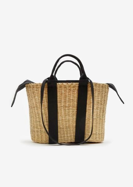 bed6a048ce2 Medium Caba Straw Bag - One Size / Black/Beige   Bags