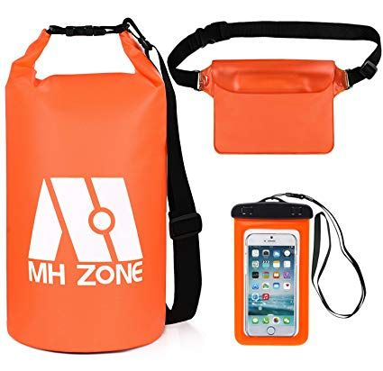 MH Zone Waterproof Dry Bags 10L 20L Set of 3 Fishing Detachable Shoulder Strap Waist Pouch /& Phone Case Kayaking Swimming and Beach Fit for Boating Rafting