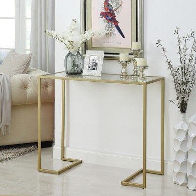 Thatcher Glass Top Console Gold Carolina Chair Table Sofa Table Decor Console Table Tempered Glass Table Top