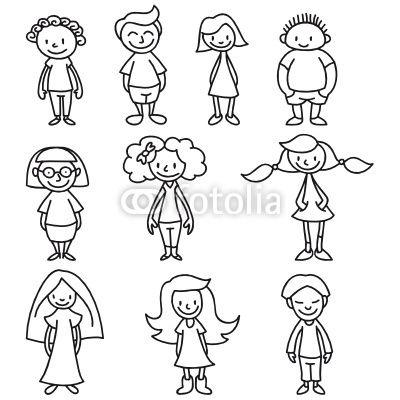 Kinder Ausmalbild Comicfiguren Zeichnen Strichmännchen
