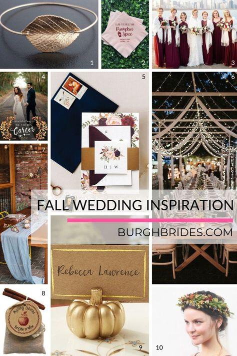 FALL in Love with these Autumn Wedding Must Haves. For more fall wedding ideas, visit burghbrides.com! #fallweddinginspiration #fallweddingdecor #fallweddinginvitations #fallweddingfavors #fallbride #autumnweddinginspiration
