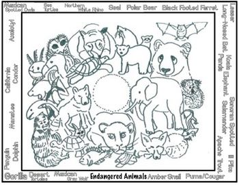 Endangered Animals Coloring (4 printables) Art Lesson | Art ...