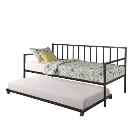 Euroco Twin Metal Daybed With Trundle Black Walmart Com
